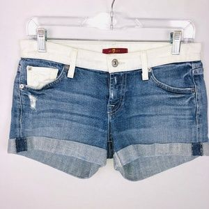 7 For All Mankind Two Tone Cuffed Jean Shorts